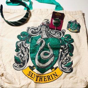 Harry Potter Slytherin headband, tote, pins, patch